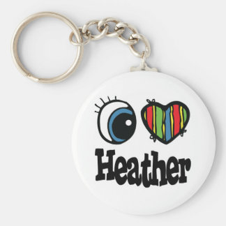 I Heart (Love) Heather Basic Round Button Key Ring