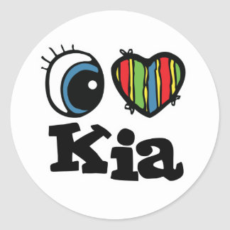 I Heart (Love) Kia Round Sticker