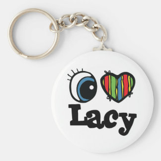 I Heart (Love) Lacy Basic Round Button Key Ring