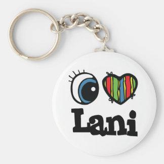 I Heart (Love) Lani Basic Round Button Key Ring