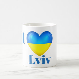 I Heart Love Lviv Ukraine Flag Mug