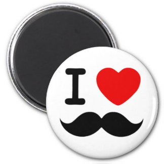 I heart / Love Moustaches / Mustaches 6 Cm Round Magnet