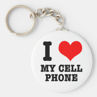 I HEART (LOVE) my cell phone Basic Round Button Key Ring