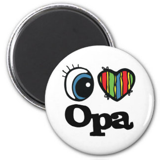 I Heart (Love) Opa 6 Cm Round Magnet