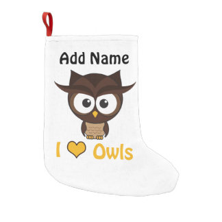 I heart (love) owls small christmas stocking