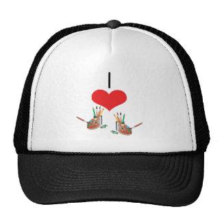 I Heart (Love) Paint Brushes Hats
