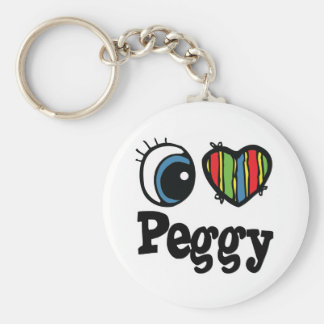 I Heart (Love) Peggy Basic Round Button Key Ring