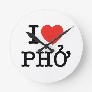 I Heart (Love) Pho Round Clock