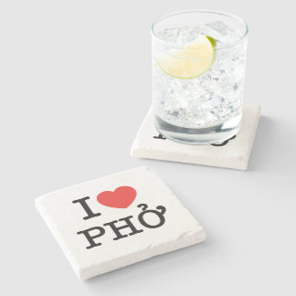 I Heart (Love) Pho Stone Coaster