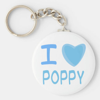 I Heart (Love) poppy Basic Round Button Key Ring