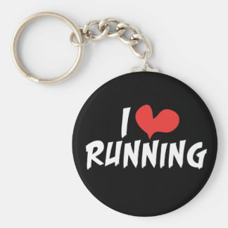 I heart (love) Running Basic Round Button Key Ring