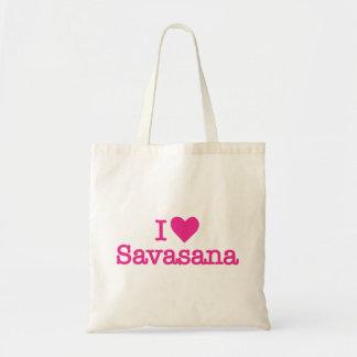 I heart love savasana yoga meditation tote