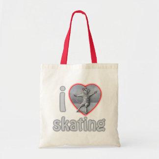 I heart love skating tote bag