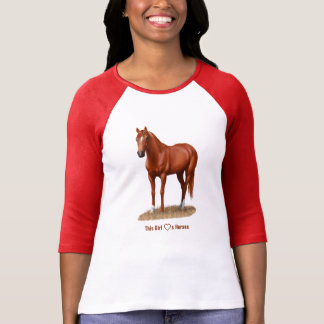 I Heart (Love) Sorrel Quarter Horses T-Shirt