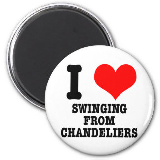 I HEART (LOVE) SWINGING FROM CHANDELIERS 6 CM ROUND MAGNET