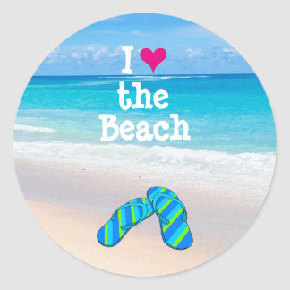 I Heart (Love) the Beach Flip Flops in the Sand Classic Round Sticker