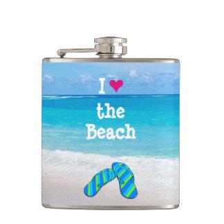 I Heart (Love) the Beach Flip Flops in the Sand Hip Flask