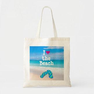 I Heart (Love) the Beach Flip Flops in the Sand Tote Bag