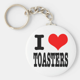 I HEART (LOVE) TOASTERS BASIC ROUND BUTTON KEY RING