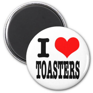 I HEART (LOVE) TOASTERS 6 CM ROUND MAGNET