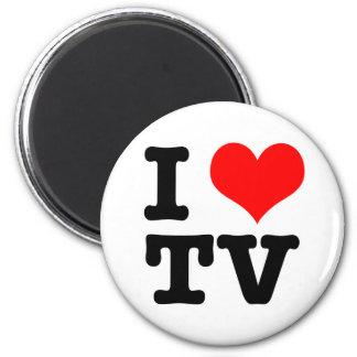 I HEART (LOVE) TV 6 CM ROUND MAGNET