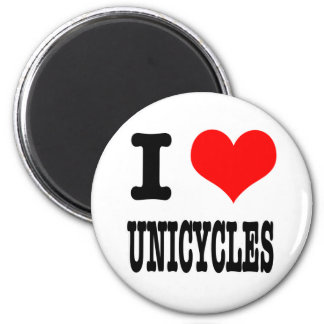 I HEART (LOVE) UNICYCLES 6 CM ROUND MAGNET