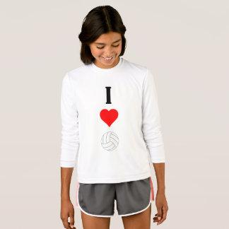 I Heart Love Volleyball Girls Long Sleeve Shirt