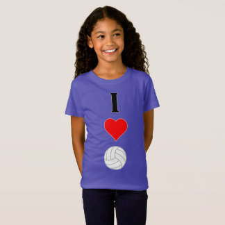 I (Heart) Love Volleyball Vertical Graphic Girl's T-Shirt