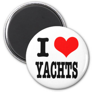 I HEART (LOVE) YACHTS 6 CM ROUND MAGNET