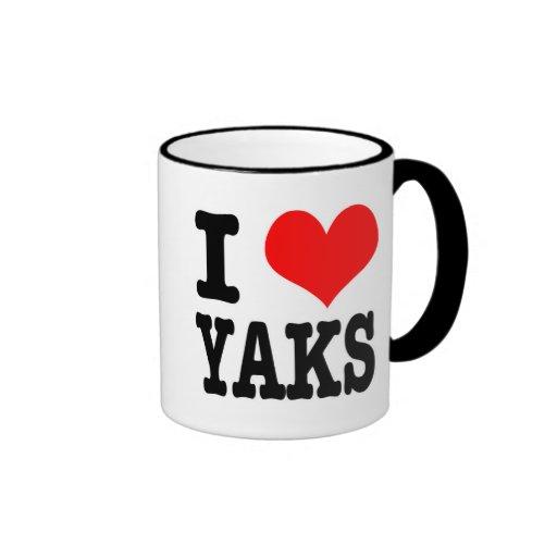 I HEART (LOVE) YAKS COFFEE MUGS