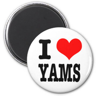 I HEART (LOVE) YAMS 6 CM ROUND MAGNET