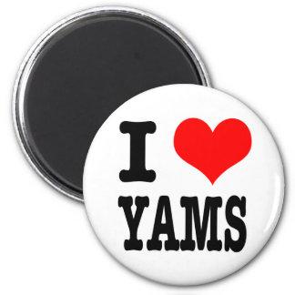 I HEART (LOVE) YAMS 6 CM ROUND MAGNET