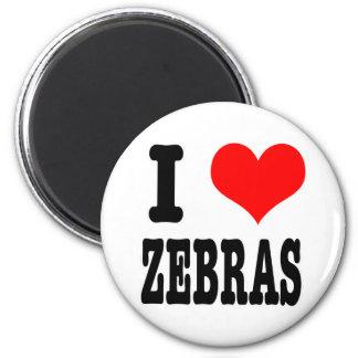 I HEART (LOVE) zebras 6 Cm Round Magnet