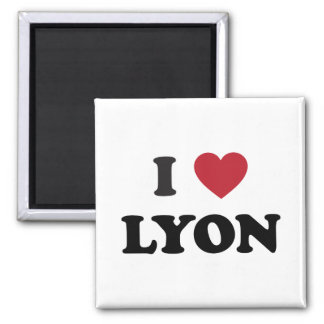 I Heart Lyon France Square Magnet
