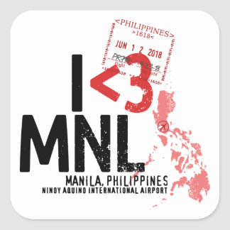 I Heart Manila - Airport and Passport Stamp Square Sticker