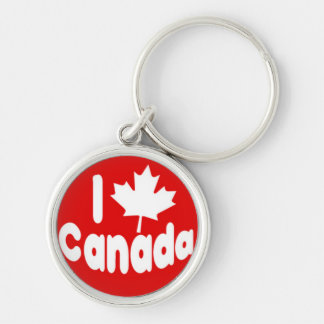I Heart Maple Leaf Canada White on Red Silver-Colored Round Key Ring