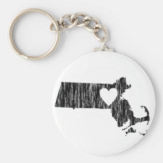 I Heart Massachusetts Grunge Outline State Love Key Ring