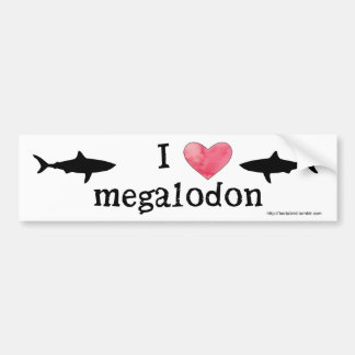 I heart Megalodon Bumper Sticker