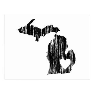 I Heart Michigan Grunge Worn Outline State Love Postcard