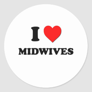 I Heart Midwives Round Sticker