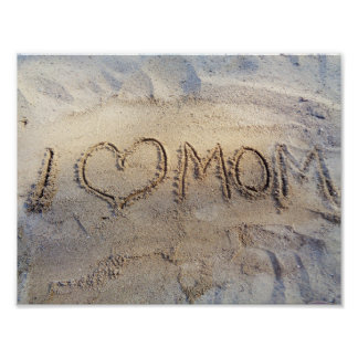 I Heart Mom, Love words on sunny sand beach Summer Poster