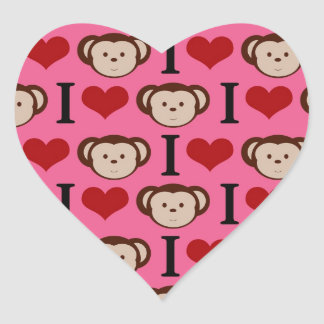 I Heart Monkey Pink I Love Monkeys Valentines Heart Sticker