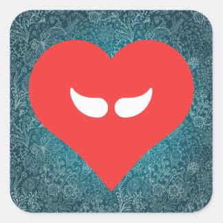 I Heart Moustache Wax Square Sticker