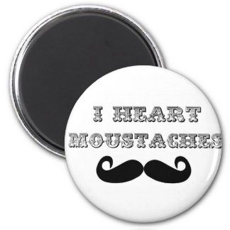 I Heart Moustaches 6 Cm Round Magnet