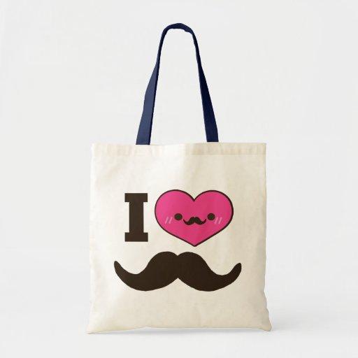 I Heart Moustaches Canvas Bag