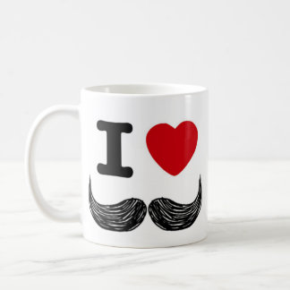 I Heart Moustaches Basic White Mug