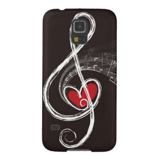I HEART MUSIC Treble Clef Red Heart Black Galaxy S5 Case