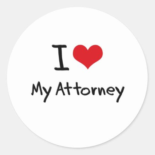 I heart My Attorney Round Stickers