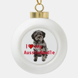 I heart my Aussidoodle Ceramic Christmas Ornament