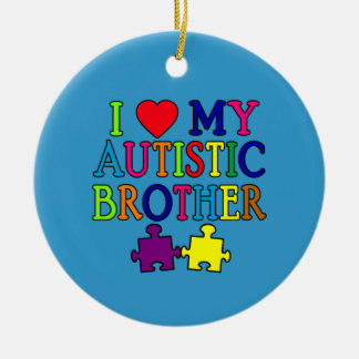 I Heart My Autistic Brother Round Ceramic Decoration